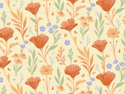 California Poppies Pattern illustration flowers nature pattern surface pattern surface design floral pattern floral
