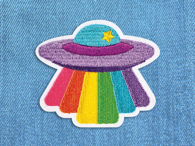 Rainbow UFO Patch fun colorful bright scifi rainbow textiles space ufo graphic design patch design patch