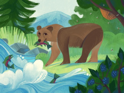 Brown Bear mountains river salmon kidlit art procreate great outdoors outdoors wildlife national parks nature illustration nature illustration grizzly brown bear bear