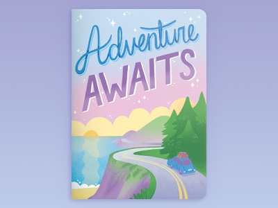 Adventure Awaits coastal pacific coast highway road trip book cover surface design stationery travel adventure handlettering illustration