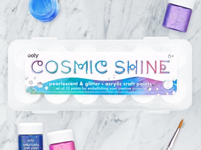 Cosmic Shine graphic design metallic print shine glitter sparkle galaxy cosmos cosmic stationery art supplies paint packaging paint sticker packaging design packaging