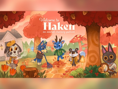 Welcome to Haken: An Animal Crossing Podcast fall autumn procreate illustration forest animals forest animals cute animal illustration podcast art podcast animal crossing new horizons acnh