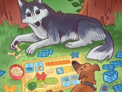Board Game Dogs cute funny husky tabletop game board game dogs kid lit art childrens book animals nature procreate illustration
