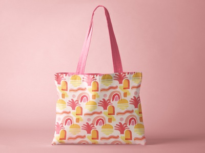 New Dawn Pattern make it in design summer sunrise sunset warm tote bag fashion painterly hand painted textile print textiles repeat surface pattern surface design pattern
