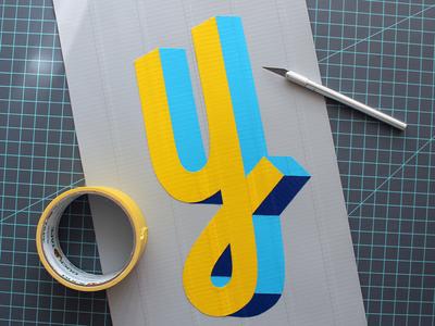 Ducktype Y design typography ducktape lettering type design