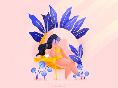 Tanning energetic sunshine illustrations summer vibe