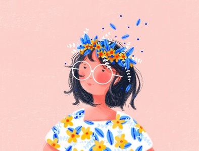 Flower Crown flowercrown flower illustration flowers girlillustration summervibes summer summertime illustration art illustration