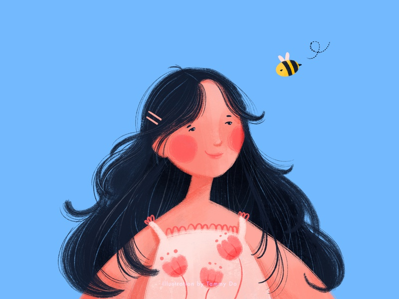 A Girl and the Bee drawing art challenge cute illustration bee drawthisinyourstyle illustrator illustration art illustration