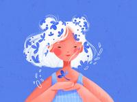 White Hair portrait illustration drawing drawthisinyourstyle art challenge girlillustration illustrator illustration art illustration
