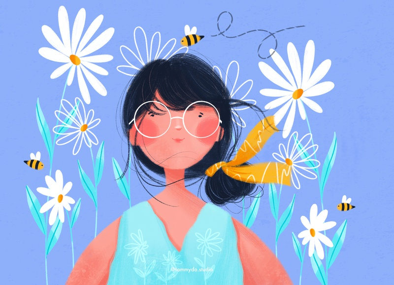 The girl and the honey bee funwithfaces flowerillustration daisy honeybee girlillustration summertime illustrator illustration art illustration