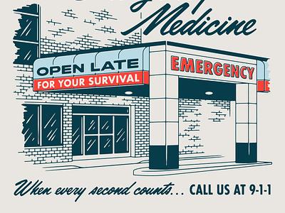 Emergency Room matchbook facade medical emergency 70s retro vintage illustration