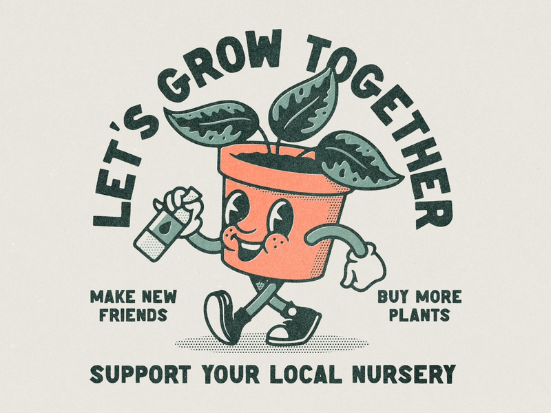 Let's Grow Together cartoon together halftone pot support local character vintage nursery planter plant retro lettering design texture illustration