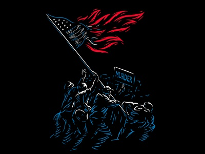 'Murder' Single Artwork flag raiser iwo jima burning fire sign black lives matter blm american america protest people illustration