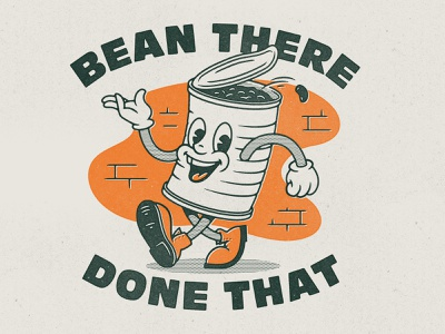 Bean There, Done That food beans cartoon character can bean vintage retro design texture illustration