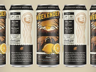 Weekender Hard Iced Tea beverage branding packaging lemon beer tea can