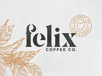 Felix Coffee Co. - Wordmark plant floral ohio cincinnati stamp coffee felix