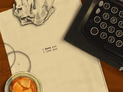 2414 Pt.4 desk texture paper glass whiskey painting typewriter illustration