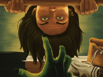 Don't Look Under The Bed Pt. 3 socks converse shoes bed halloween scary monster illustration painting