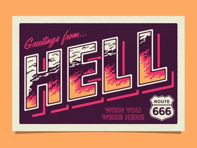 Greetings from HELL fire hell retro travel postcard