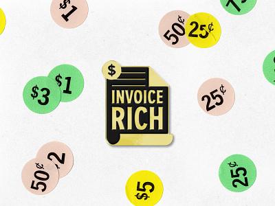 Invoice Rich pin enamel money invoice