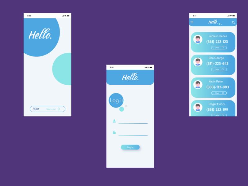 Hello App lettering web app logo branding design typography ux ui illustration