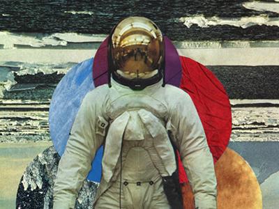 Spaceman collage astronaut spaceman handmade