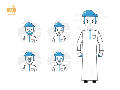 character arab free .aep graphic gif effects ux ui flat animation cloud motion after design
