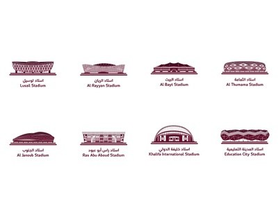 2022 World Cup stadiums in Qatar flat vector graphic design icon logo typography vector flat effects after illustration