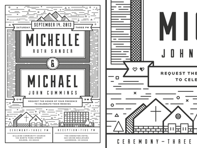 M&M Wedding Invitation wedding invitation hitched minimal illustration flat grid duke locator print design