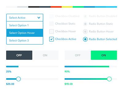 Brandfolder UI Kit ui minimal flat brandfolder radio select checkbox toggle slider progress web