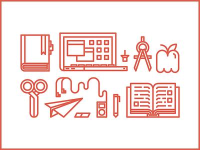 SchoolRunner Supplies pen compass book headphones scissors apple paper airplane grid minimal illustration laptop