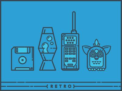 Brandfolder Retro Ad Assets retro lava lamp floppy disk brick phone furby minimal illustration brandfolder
