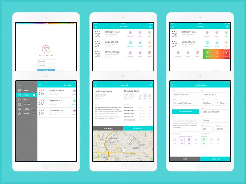 Painting App – iPad Interface ui ipad app painting appointment login edit budicons ios7 minimal flat gradient