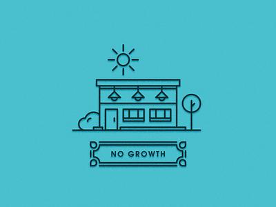 No Growth Building bush sun minimal tree building illustration