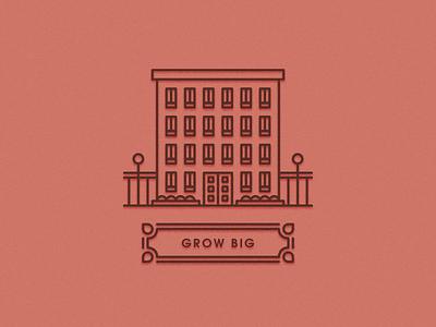 Grow Big Building illustration plants fence lights building