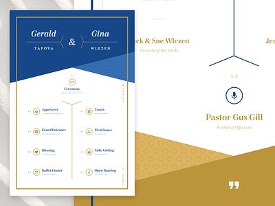 Wedding Program – Front flat af harris code mrs eaves mort modern material icons invitation program wedding