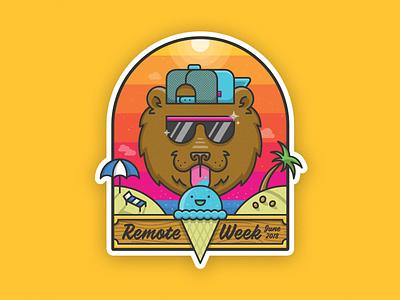 Summer Bear Sticker yolo wood hat sunglasses beach 80s ice cream bear summer sticker