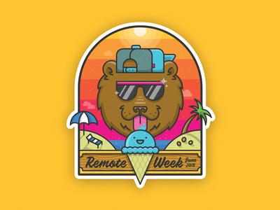 Summer Bear Sticker