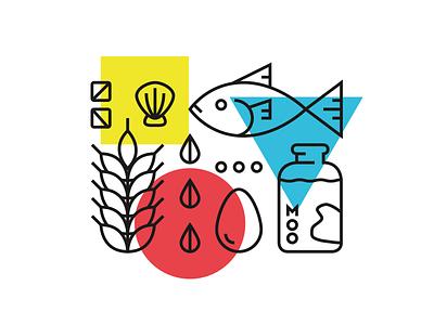 M + M Wedding – Food shapes shellfish nuts eggs milk wheat fish food illustration