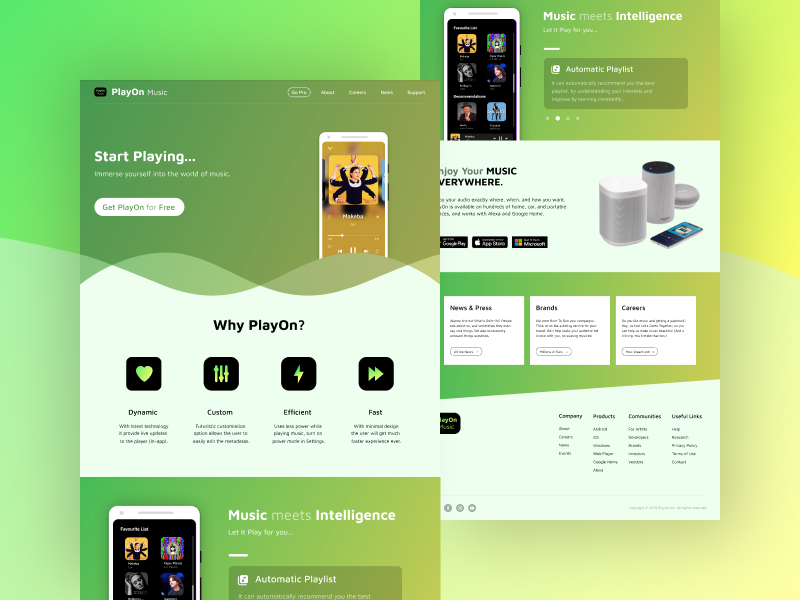 Landing Page - UI #006 playon page landing website app player music clean design ui landing page