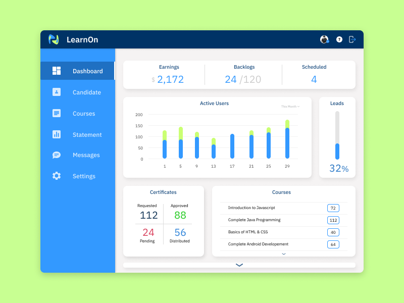 Dashboard (Admin) - #UI 008 learnon flat page admin website clean dashboard design ui