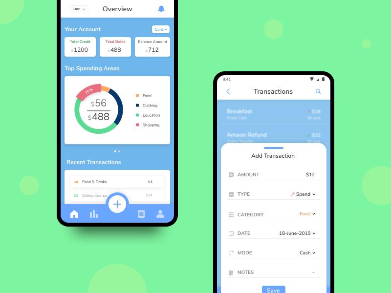 Expense Tracker App - UI #010 design ui mobile clean app flat tracker expense