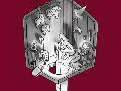 StayHome boy cartoon 2d cute design character funny art animation illustration