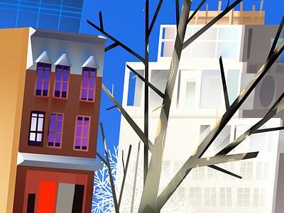 city illustration location tree raster illustration city