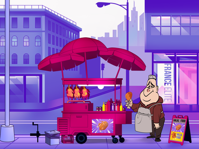 Food Truck, American chicken, with Street Vendor aniamtion motion motion design motion art boy art city design funny character illustration vector animation asian vendor street chicken american truck food