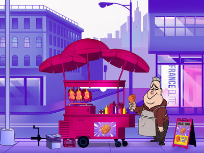 Food Truck, American chicken, with Street Vendor
