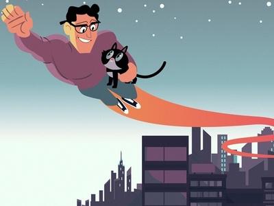 hero flying superhero hero cat design funny illustration vector