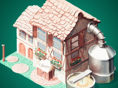 House game production france cheese factory isometry house illustration