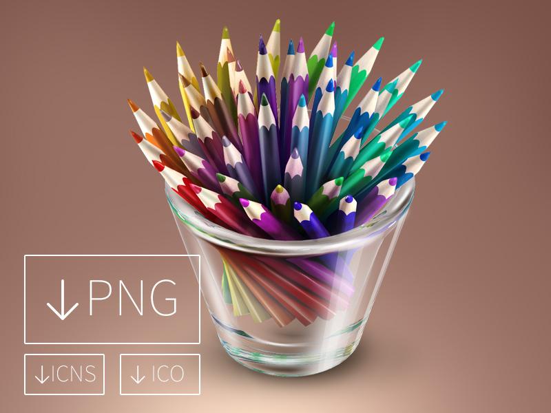 Colored Pencils In Glass illustration dock icon colored pencils glass designer tool color rainbow freebie freebies