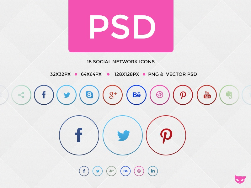 Rings - Social Network Buttons in Circle PSD freebie freebie social buttons circle round behance facebook dribbble evernote google skype twitter